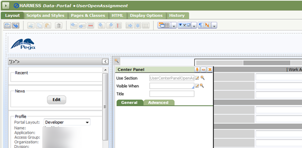 Harness rule Data-Portal UserOpenAssignment, Layout, Center Panel, Use Section
