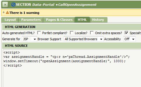 Section Data-Portal callOpenAssignment HTML Generation Source script