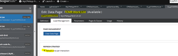 Edit copy of data page FCMRWorkList, Load Management, Refresh Strategy