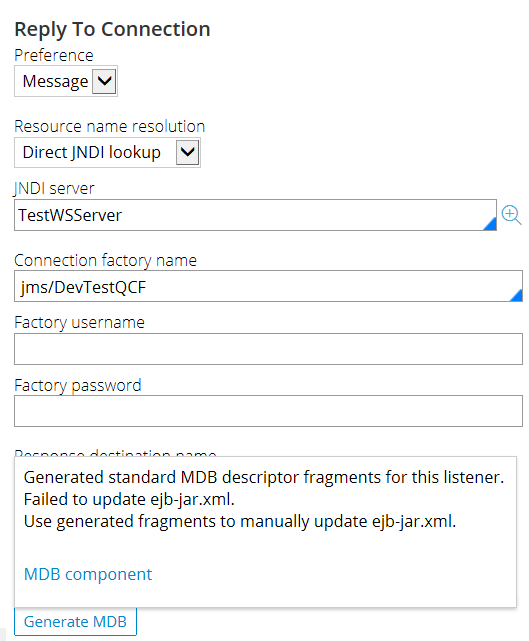 Message indicating that your archive contains fragments of the MDB deployment descriptors