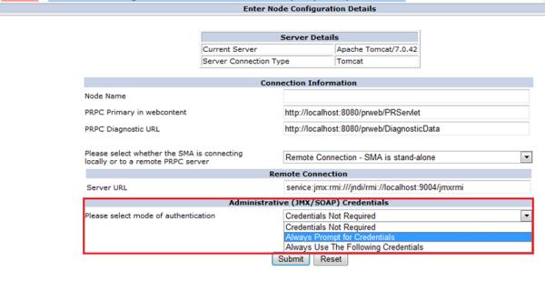 Enter Node Configuration Details, Administrative (JMX/SOAP) Credentials