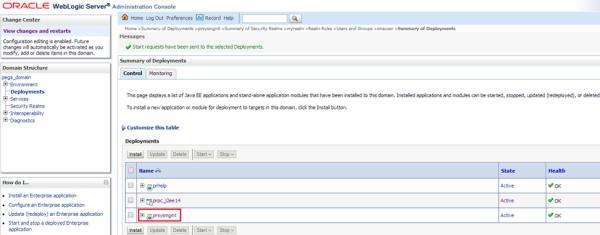 WebLogic Admin Console Deployments delete existing prsysmgmt