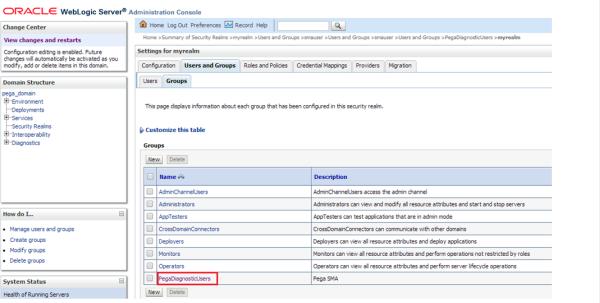 WebLogic Admin Console Security Realms group PegaDiagnosticUsers