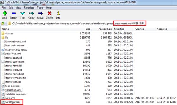 weblogic.xml located in prsysmgmt.war WEB-INF folder