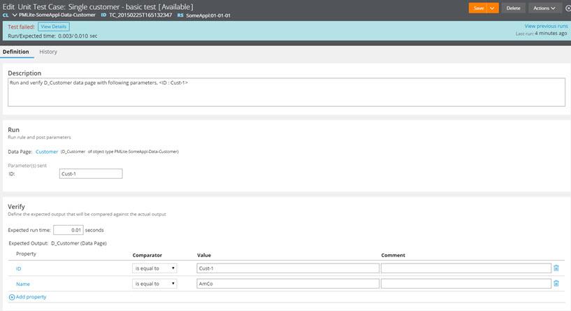 The Unit test case configuration page