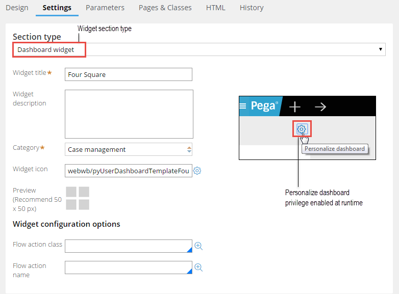 Widget configuration form