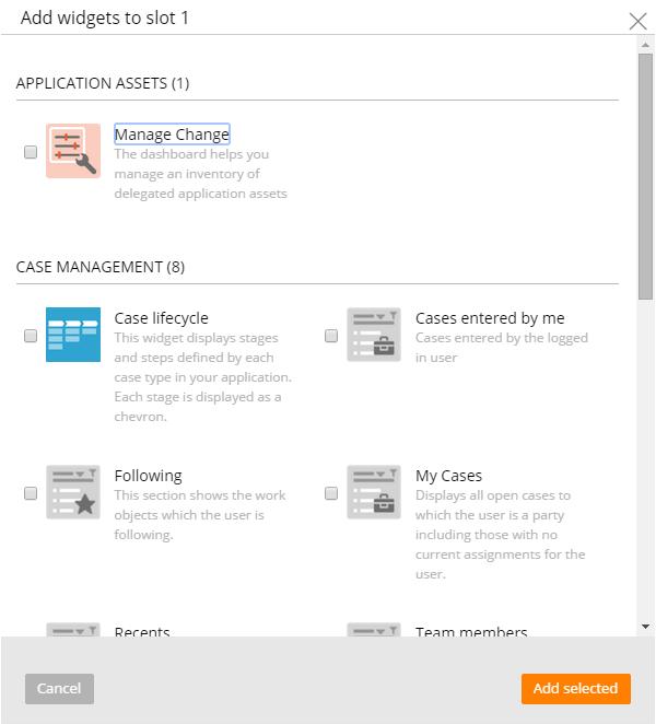Widget selection form