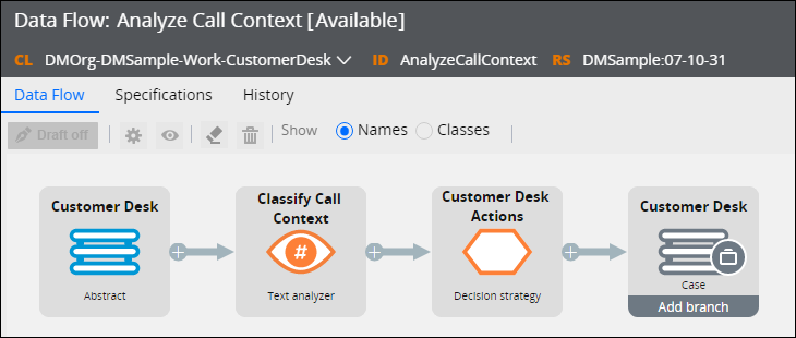 Text analyzer in a data flow