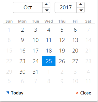 Calendar showing weekends as unavailable