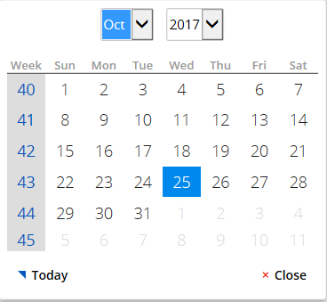 Calendar with week numbers shown in column on the left
