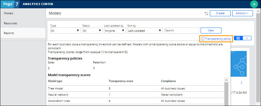 Transparency policy on the Analytics Center portal