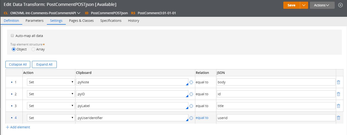 JSON data transform Definition tab