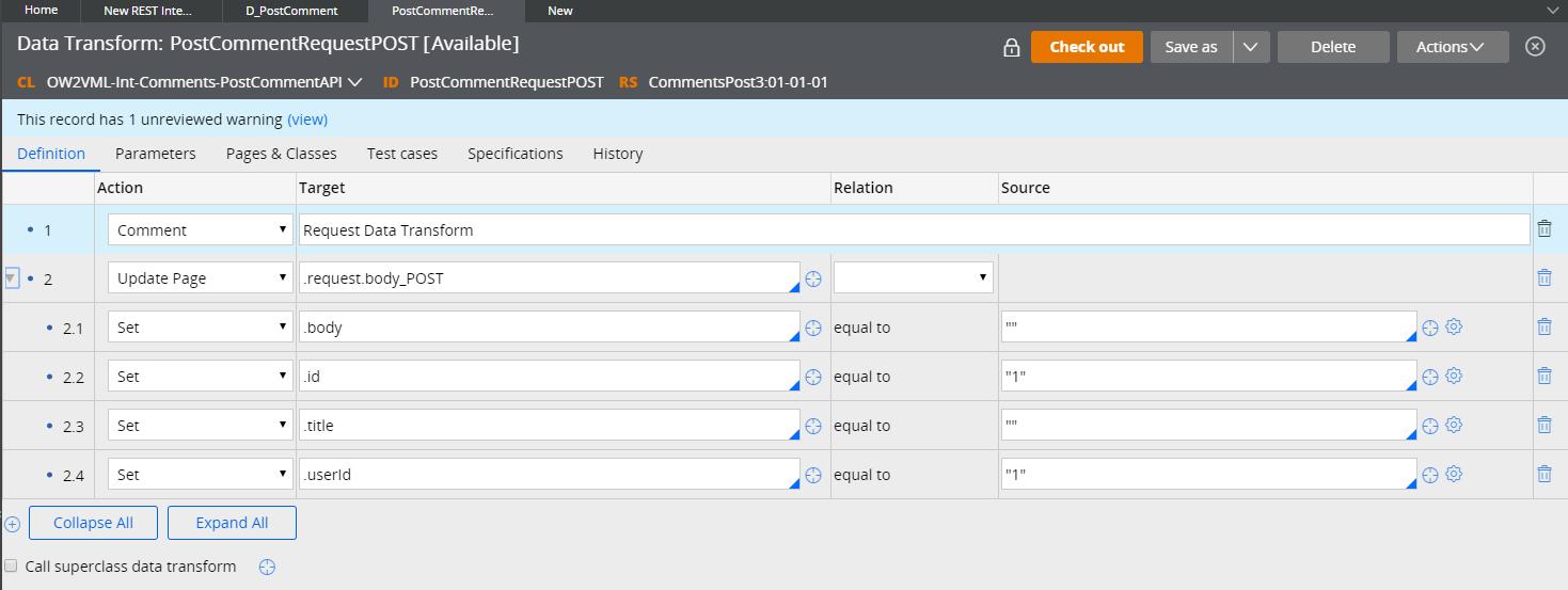 Request data transform Definition tab