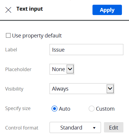 Text Input Properties panel