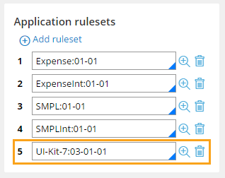 The UI-Kit-7 ruleset added to an application ruleset stack in Pega 7.1.8