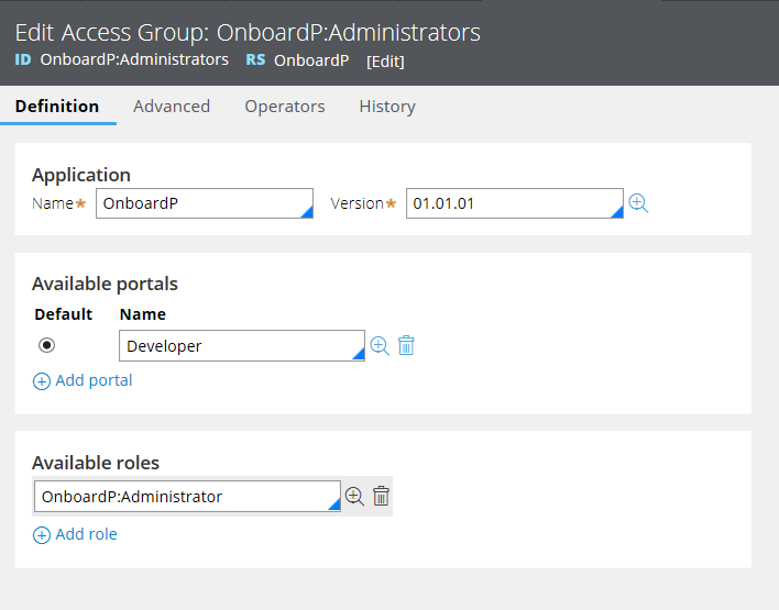 Configure the access group for the team application