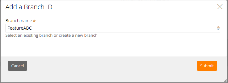 New branch in the Add a Branch ID dialog
