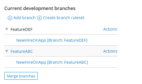 Branch rulesets associated with branches