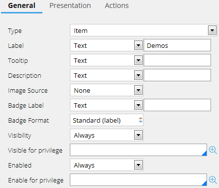 Adding a menu option on the General tab