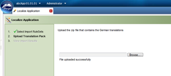 Localize Application wizard File uploaded successfully