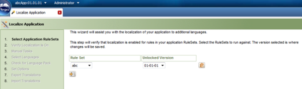 Localize Application wizard Select Application Rulesets