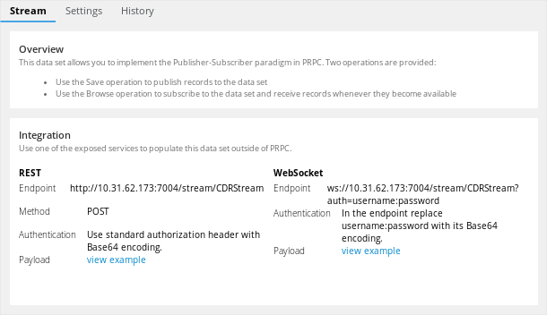 CDR Stream data set page