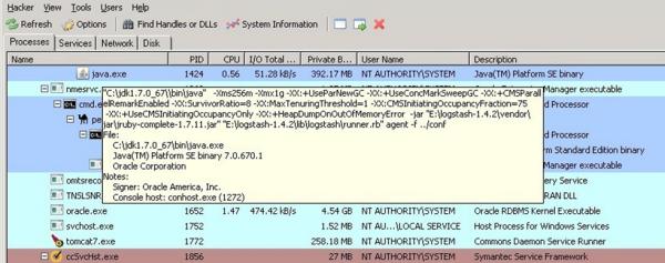Process Hacker example screen