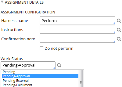 Assignment Properties work status