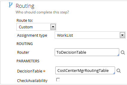 Route to worklist using decision table