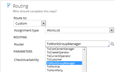 Route to worklist of workgroup manager