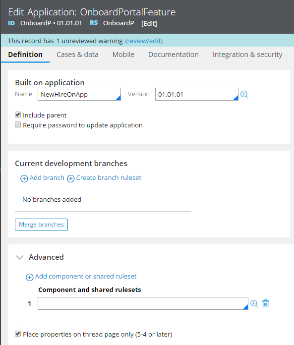 Place properties on thread only (5-4 or later) check box on the application ruleform