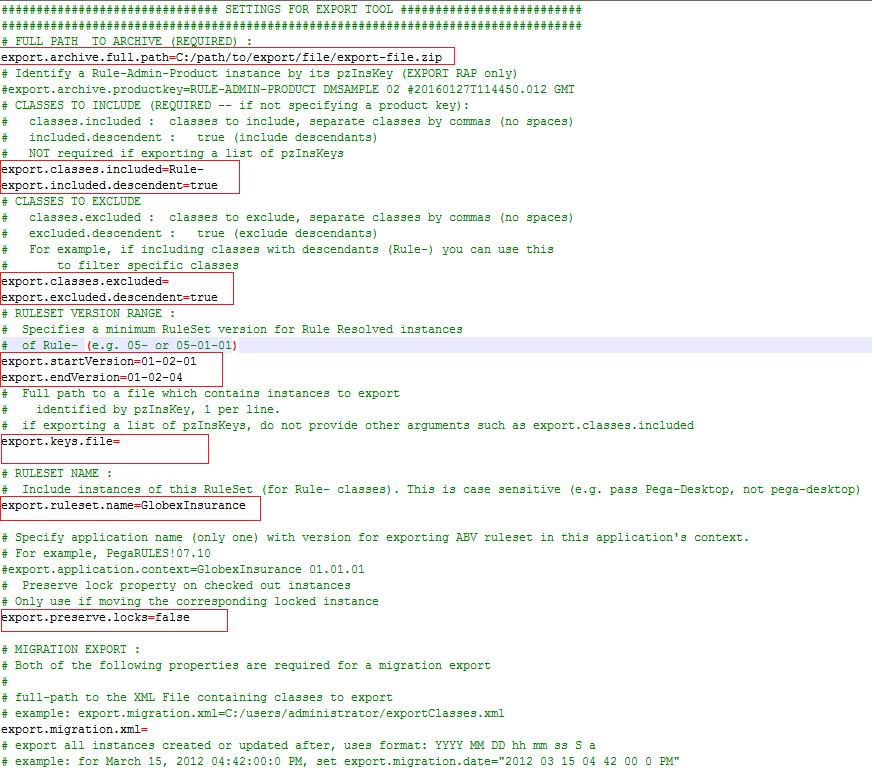 Sample export configuration