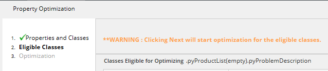 warning before beginning optimization
