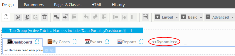 Dynamic indication on the Design tab