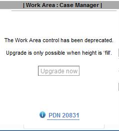 Work Area error message regarding height