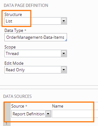 report definition as source for data page
