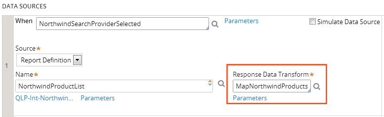 Response data transform for a data page data source