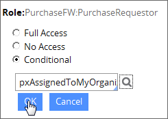 Access-level pop-up window