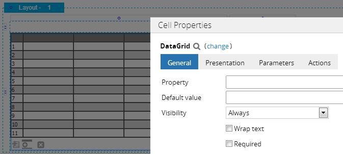 Data grid properties