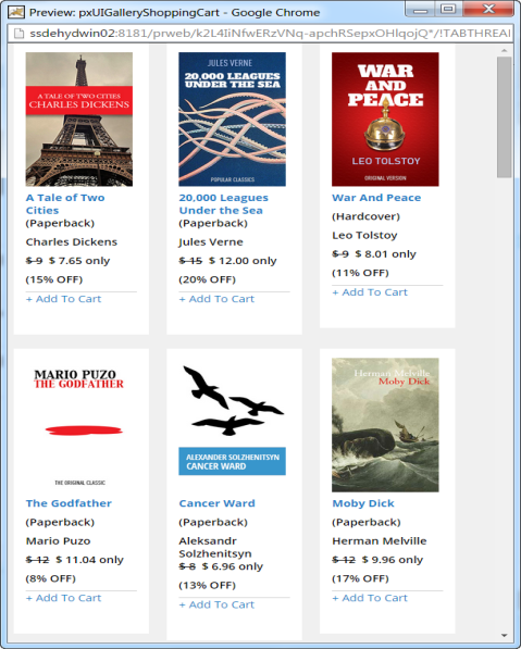 A repeating dynamic layout used to display book titles.
