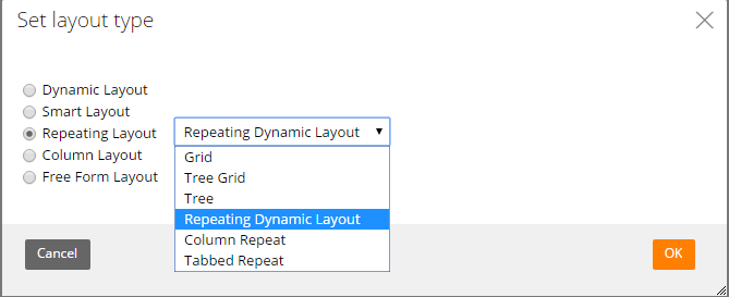 Layout type set to Repeating Dynamic Layout