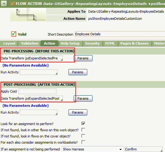 Action tab configuration