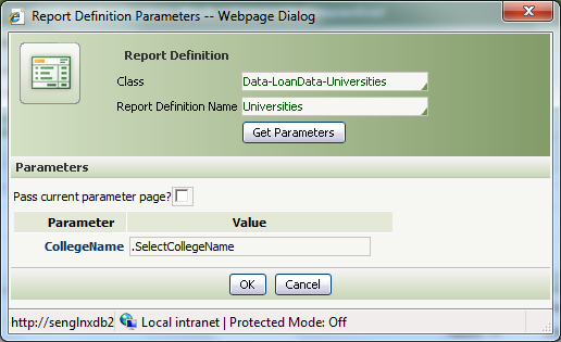 Report Definition Parameters