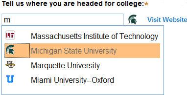 Select college from list