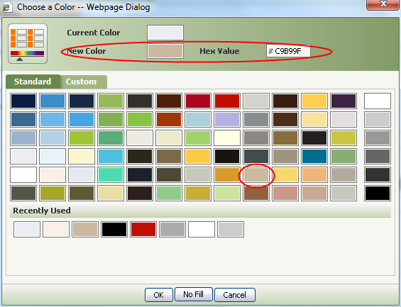 Specify a background color