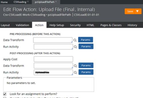 Delete the run activity UploadFile