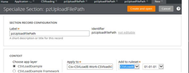 Section pzUploadFilePath applied to CSVLoadExample, CSVLoading