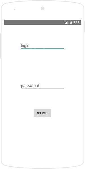 HelloWorld first (log in) screen