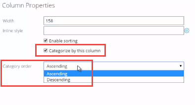 Settings for categorizing a column