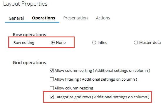 Categorization settings on the grid layout properties panel